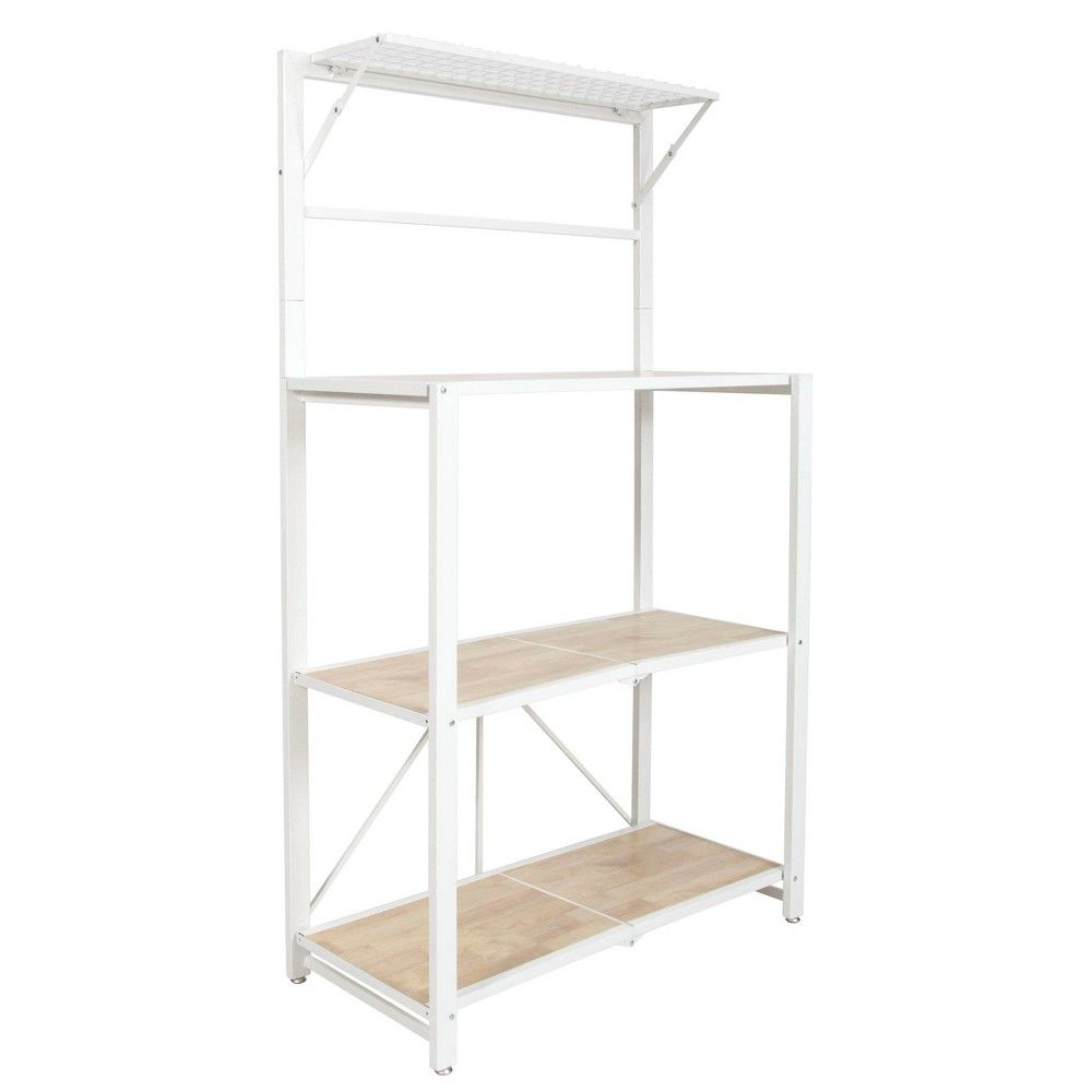 Origami Folding 4 Tier Heavy Duty Steel Baker S Rack With Wood