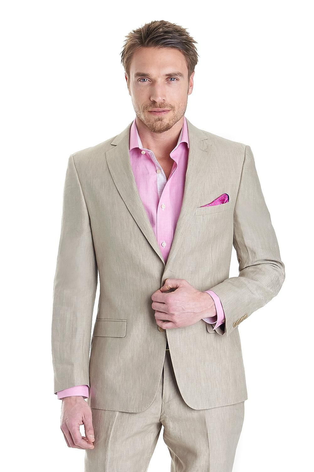 New Beige Wedding Suits For Men Notched Lapel