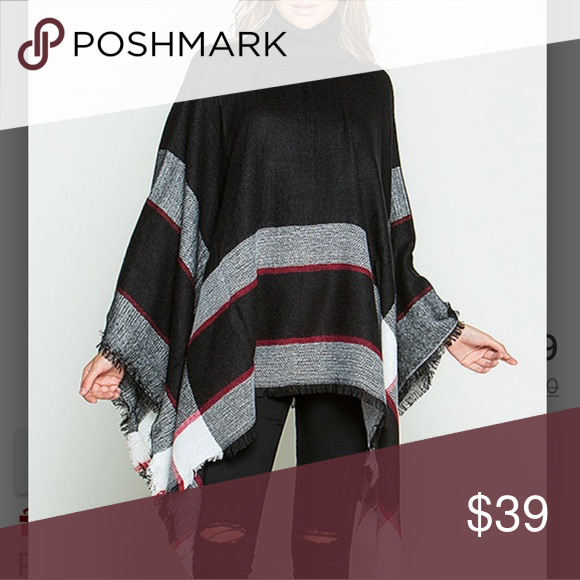 ➕Black Plaid Turtleneck Poncho Stay warm and on trend with this plaid  oversized poncho. 100% acrylic. Fits 14 to 24. More pics to come... Sweaters  Shrugs   ... 827eee6b8