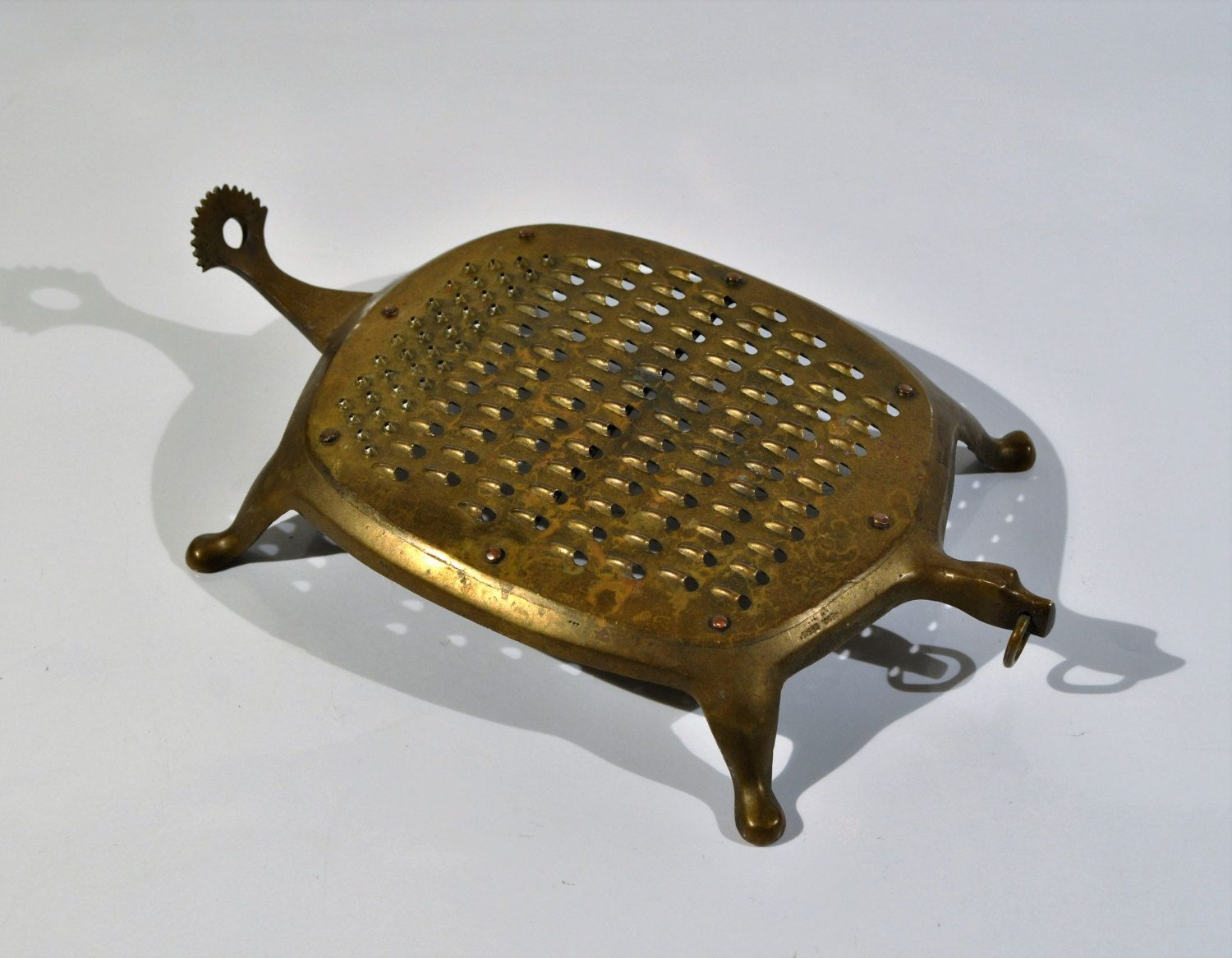 solid brass turtle cheese grater with citrus zester vintage