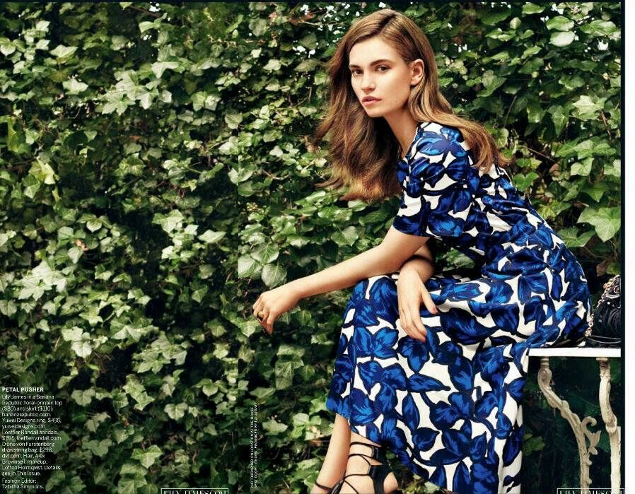 Lily James Vogue March 2015 Banana Republic top and skirt