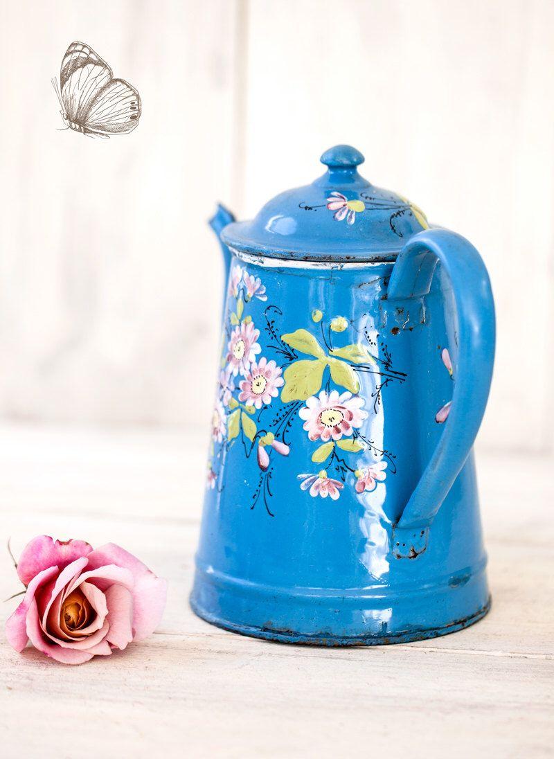 Vintage French Enamel Coffee Pot - Shabby Chic Decor - Free Shipping ...