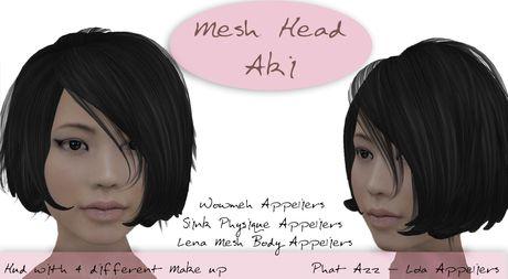HD Skin Design Mesh Head Aki | Mesh Head 01 | Mesh, Second