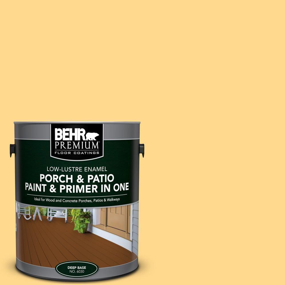 BEHR Premium 1 Gal. #P270 4 Egg Cream Low Lustre Interior/Exterior Paint  And Primer In One Porch And Patio Floor Paint