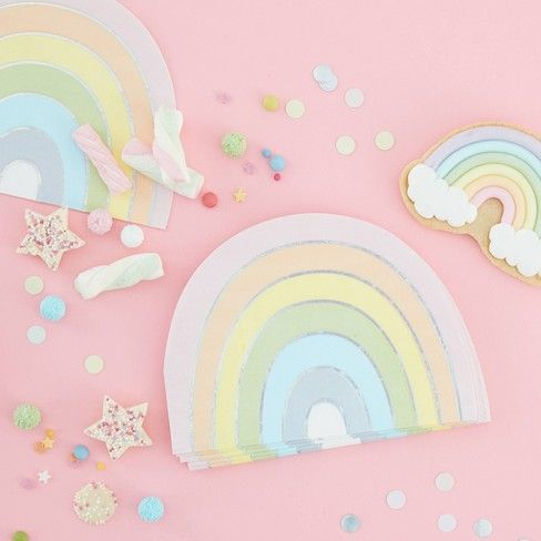 Rainbow Napkins Serviettes 16 Rainbow Paper Party Napkins Birthday Pastel Rainbow Theme Party Baby Shower Disposable Party Tableware