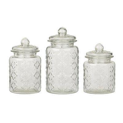 Kitchen Canisters Canister Sets Quatrefoil Glass Decorative Jars