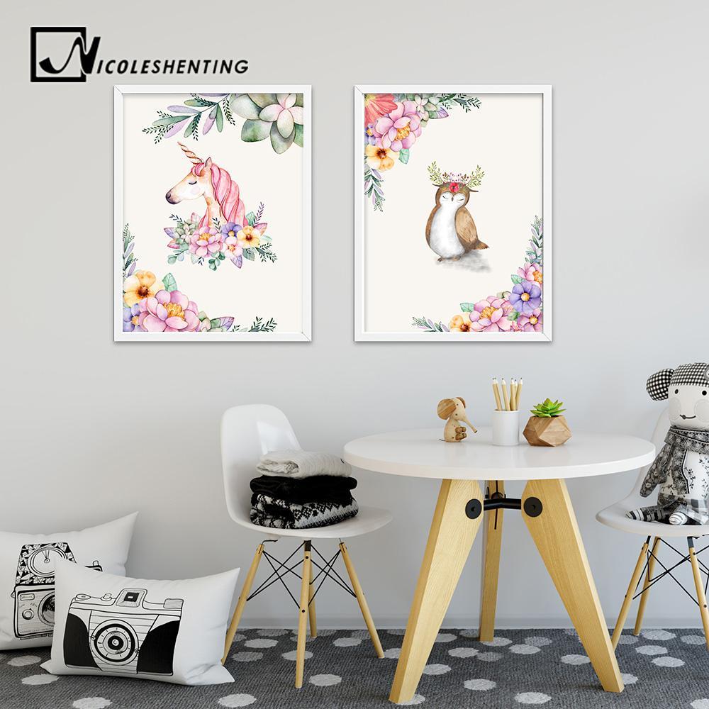 Watercolor Unicorn Deer Flower Nordic Posters Animal Canvas Prints