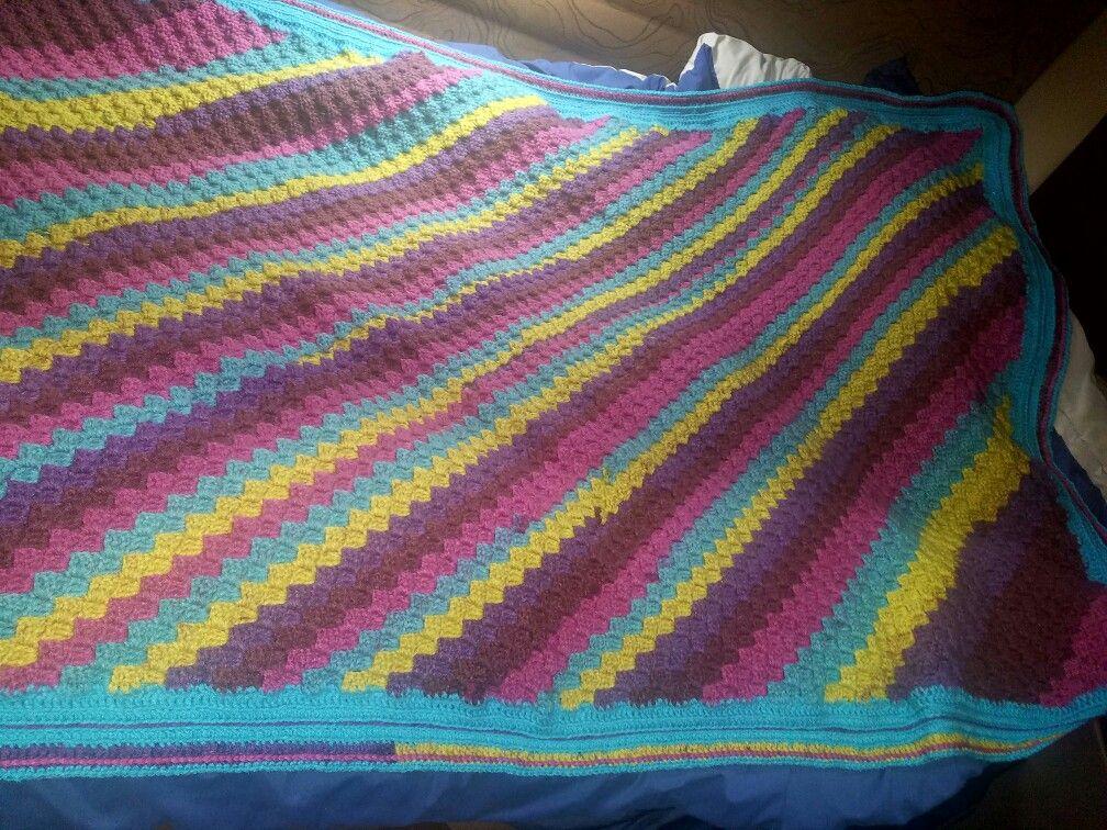 C2C blanket in Bernat Paisley Pop | Crochet Projects | Pinterest