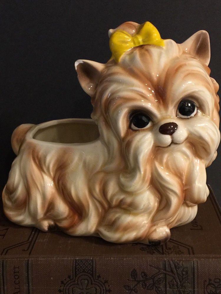Vintage Yorkie Yorkshire Terrier Napco Planter Made Japan Mid Century Ceramic Napco Vintage Pottery Antiques Roadshow Mid Century Ceramics