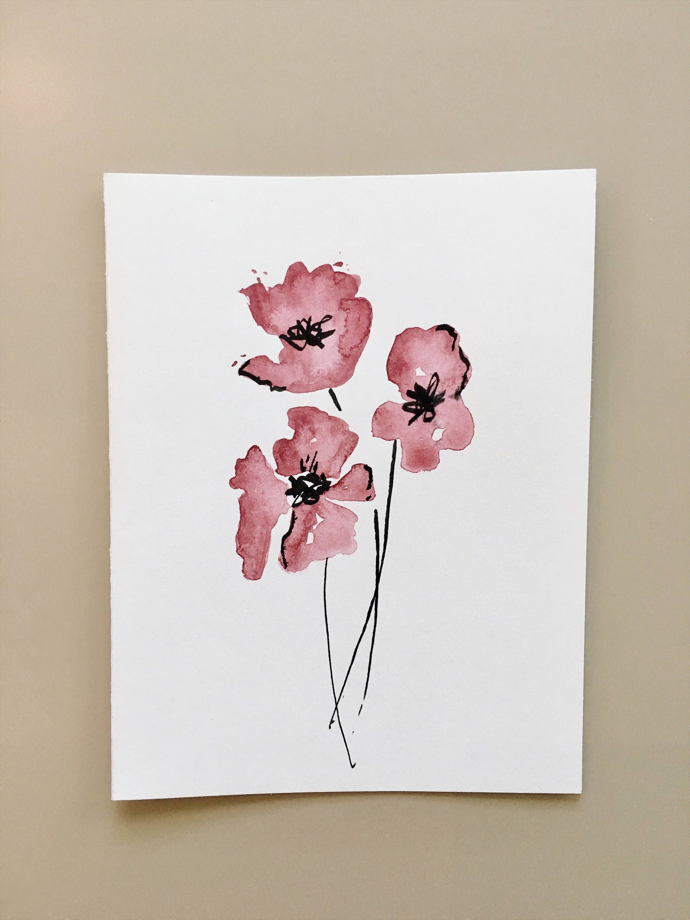 Hand Painted Greeting Card 5x7purple Tulips Blank By Cardwithheart