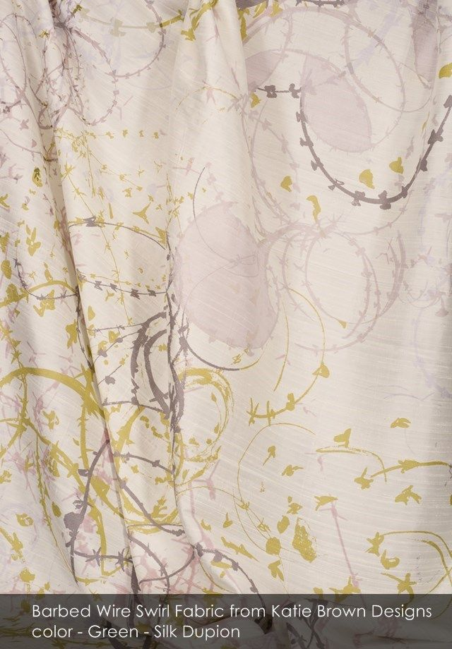 Barbed Wire Swirl fabric from Katie Brown Designs in Green - Silk Dupion