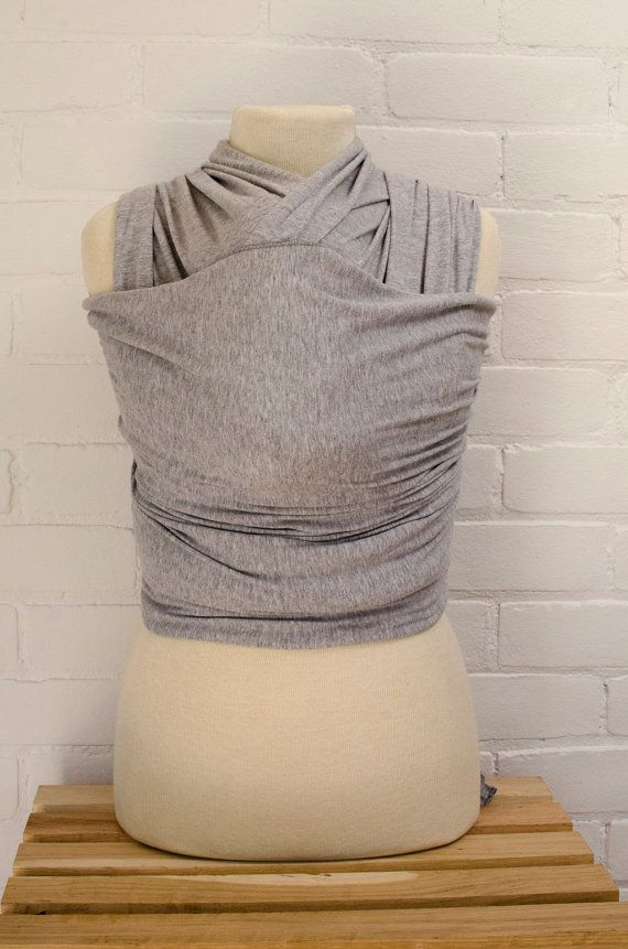 Baby Wrap Stretchy Baby Carrier Light Heather Grey Wrap With Grey Finished Edges Ecofriendly Bamboo Cotton Baby Shower Gi Baby Wraps Baby Carrier Cotton Baby