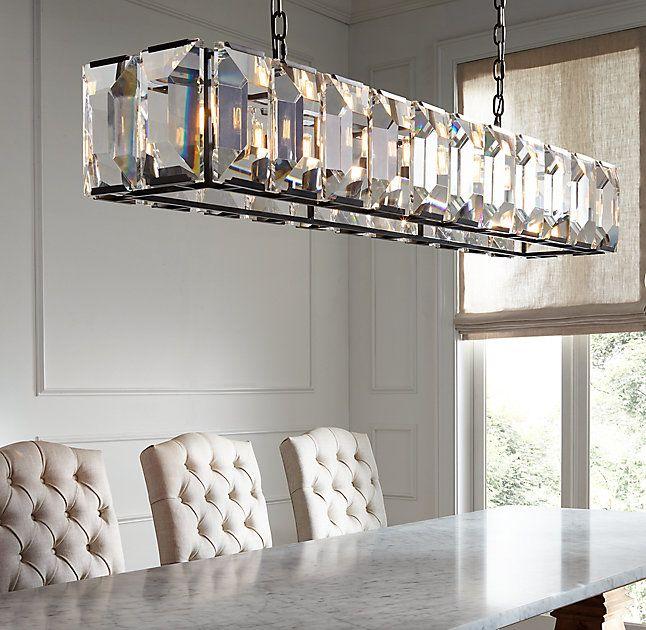 """Unique Rectangular Dining Room Chandeliers: Harlow Crystal Rectangular Chandelier 42"""" In 2019"""