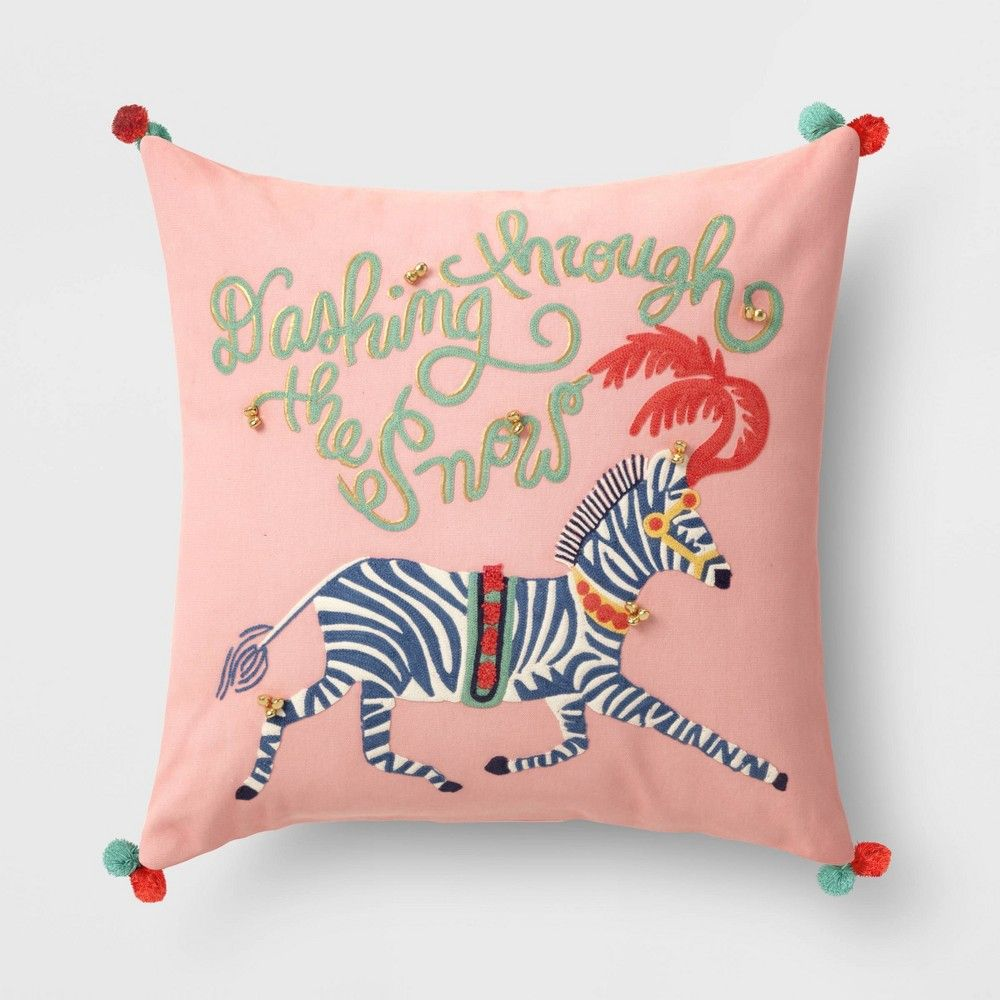 Holiday Embroidered Zebra Square Throw Pillow Opalhouse Square Throw Pillow Throw Pillows Lumbar Throw Pillow
