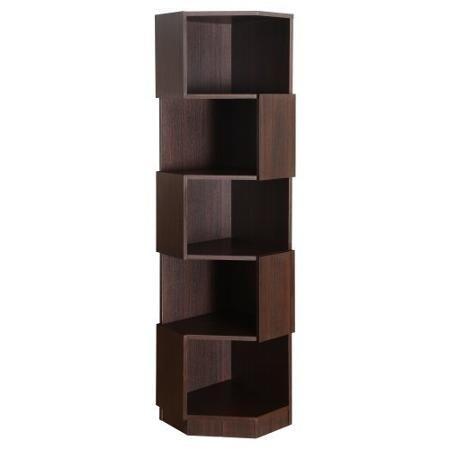Furniture Of America Laina Geometric Espresso 5 Shelf Corner Bookshelf