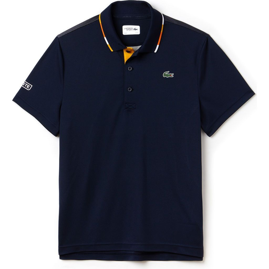 Lacoste Sport Tennis Piped Pique Men S Polo Shirt Navy Blue Buttercup Apricot Lacoste Sport Mens Polo Shirts Lacoste