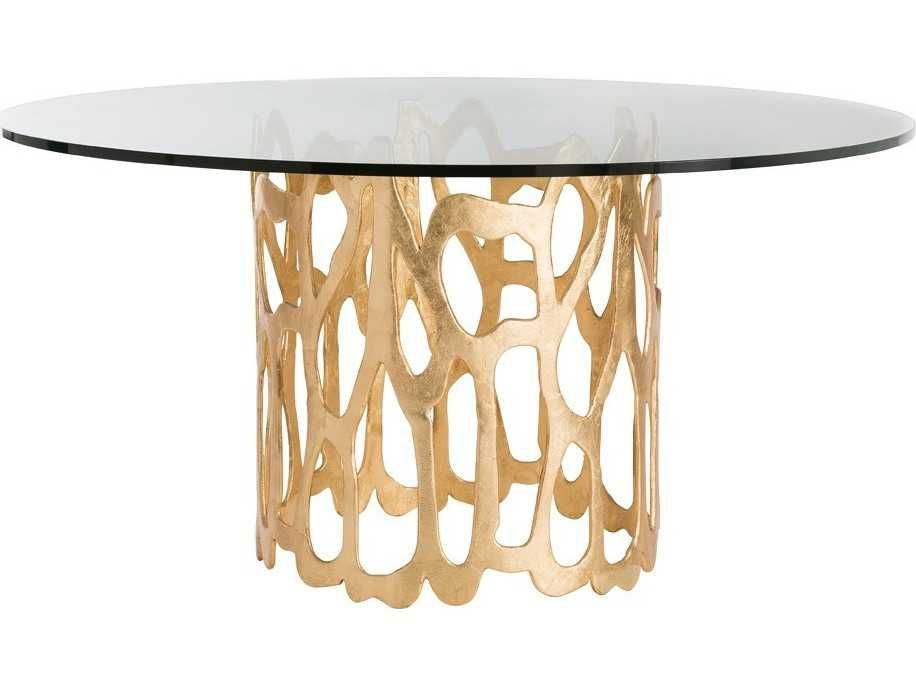 Arteriors Home Brampton Clear Glass Gold Leaf 60 Wide Round Dining Table