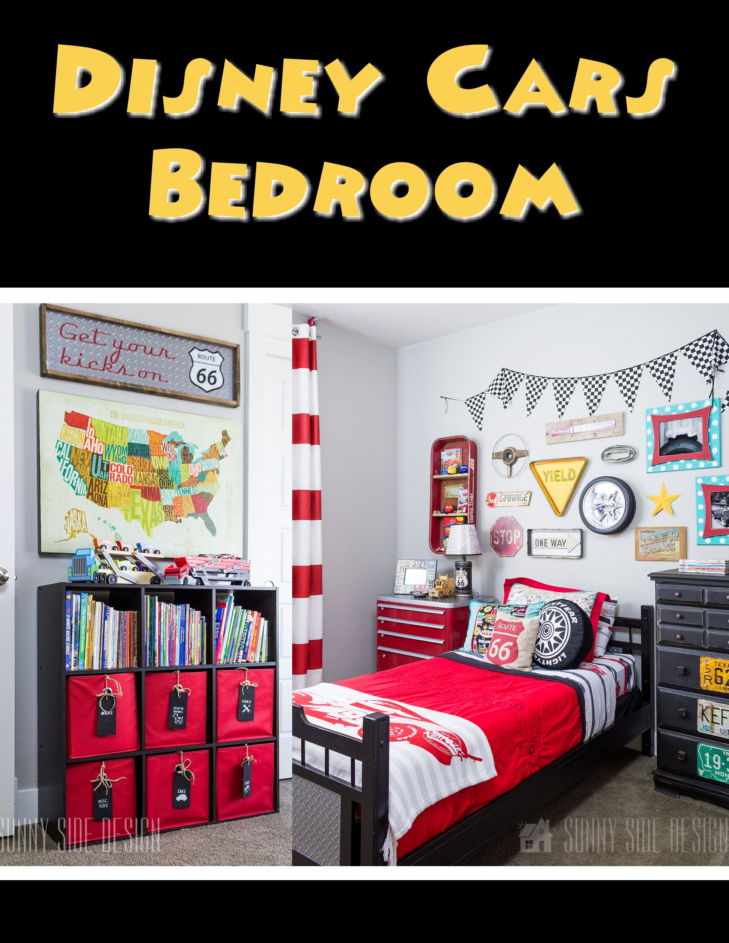 Looking for some fresh ideas on how to decorate a Disney Cars Bedroom without going over the top? This room features a simple Lightning McQueen Bedspread accented with Route 66 decor throughout the room. This gives the room a hint of Disney Cars without having a juvenile print your child will grow out of quickly. Check out all of the Car details in our post! Tell us what your favorite element in the room is. #disneycarsbedroom #bedroomdesign #boybedroom #boysbedroom #boysbedroomdesign