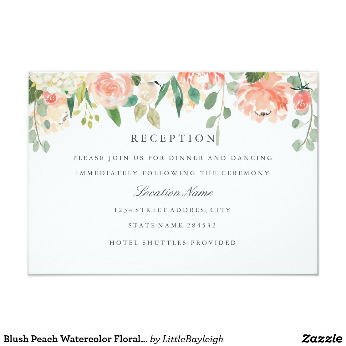 Blush Peach Watercolor Floral Wedding Reception Invitation ...