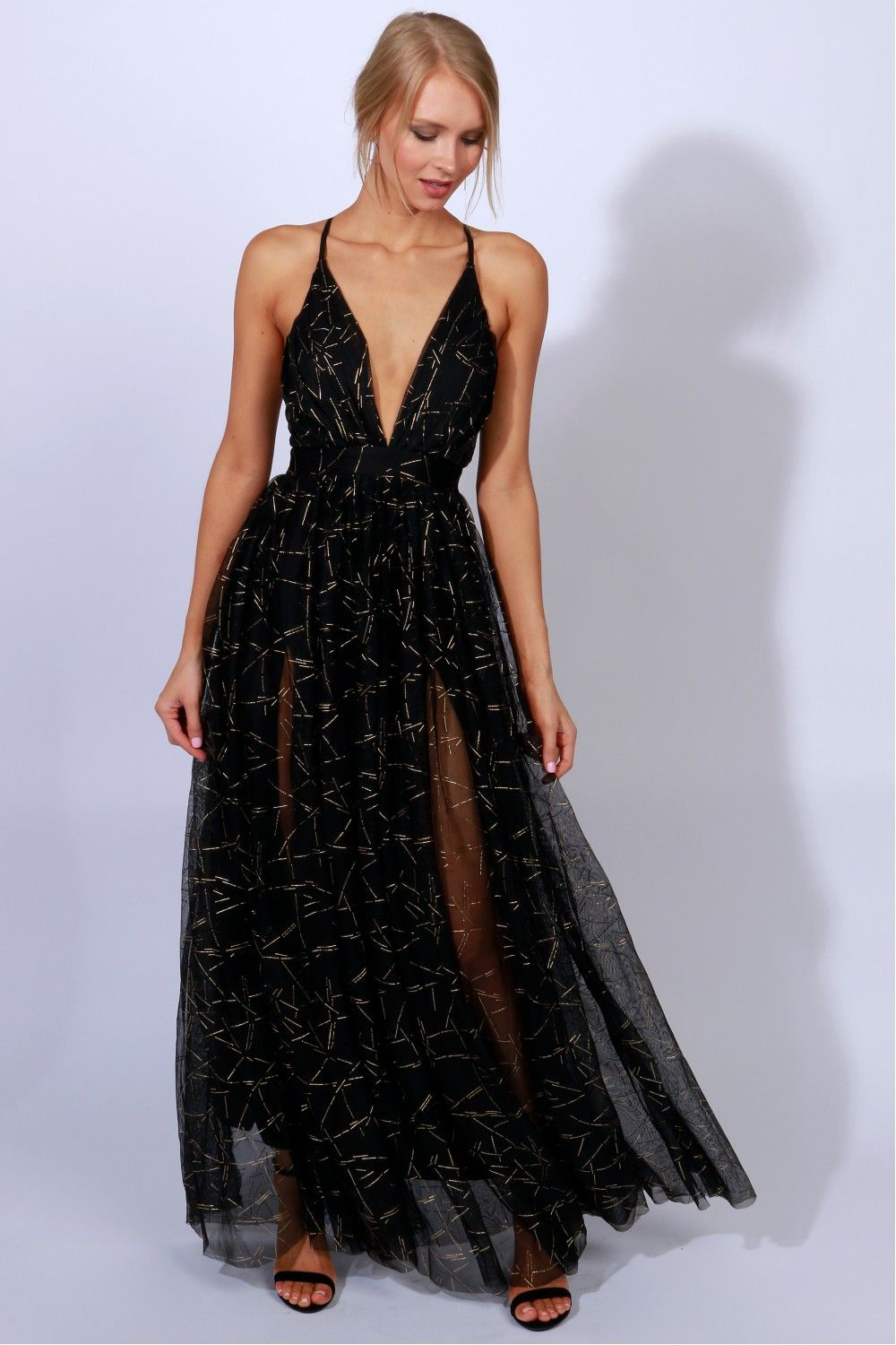 Gown To Party Detailed Maxi Black Gold Black Lace Dress Long Simple Prom Dress Gowns [ 1500 x 1000 Pixel ]