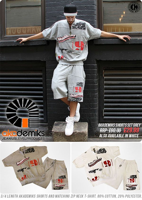 437a4dbcd0b615 AKADEMIKS SHORTS SET GREY RRP  £80.00 SALE PRICE  £29.99 3 4 length  Akademiks shorts and matching zip neck t-shirt. 80% cotton