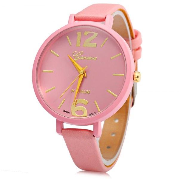 3.29$  Buy now - http://ditak.justgood.pw/go.php?t=172754703 - Geneva Big Round Dial Wristwatch Female Japan Quartz Watch Slim Leather Band 3.29$