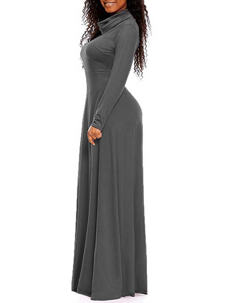 8748a3c414b9 Maternity Dresses - Women High Neck Long Sleeve Solid Casual Fit Floor  Length Maxi Swing Dress Dark Grey M   To view further for this item