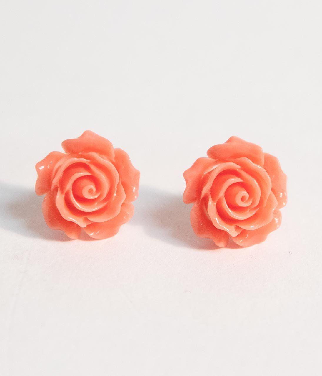 Pretty Vintage Pink Resin Rose Post Earrings