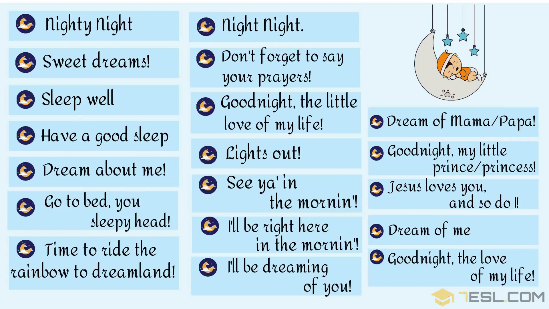 Cute Ways To Say Good Night Best Alternatives To Have A Good Night 7esl Slang Words Other Ways To Say Sayings