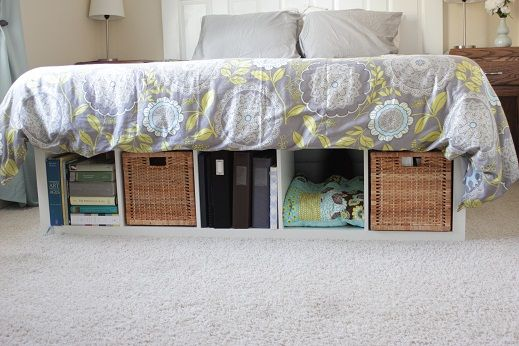 Marvelous DIY Bed Platform With IKEA Expedit. Turn Cube Shelf From IKEA Into Cute  Under The Bed Storage. I Love How The IKEA Shelving Units Look At The Foot  Of My Bed ...