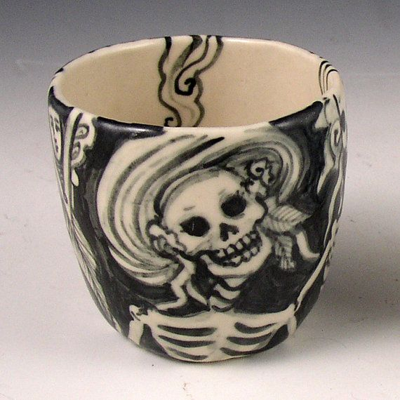 """""""Live it Up"""" handmade porcelain cup by Pam Stern."""
