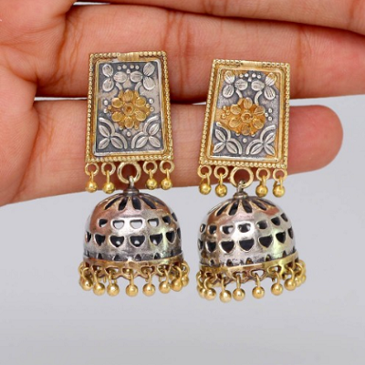 8f65479cb Dual Tone Silver Gold Plated Floral Mistical Jhumka Earring ...