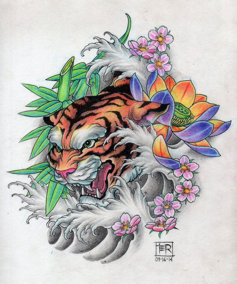 4fee171cf tiger tattoo design | tattoo design i did | Tiger tattoo, Japanese ...