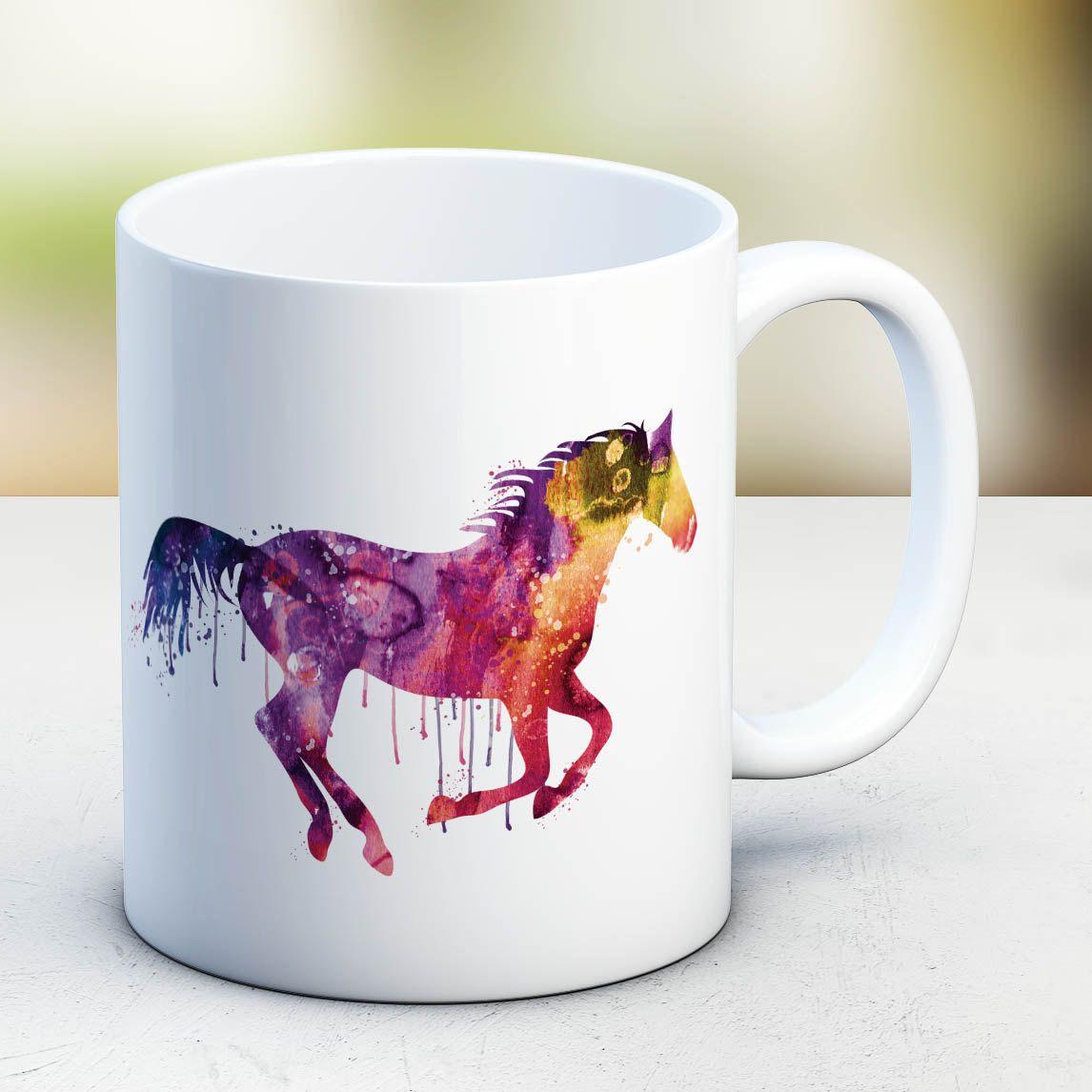 Horse Mug Watercolor Ceramic Mug Unique Gift Bird Coffee Mug Animal ...