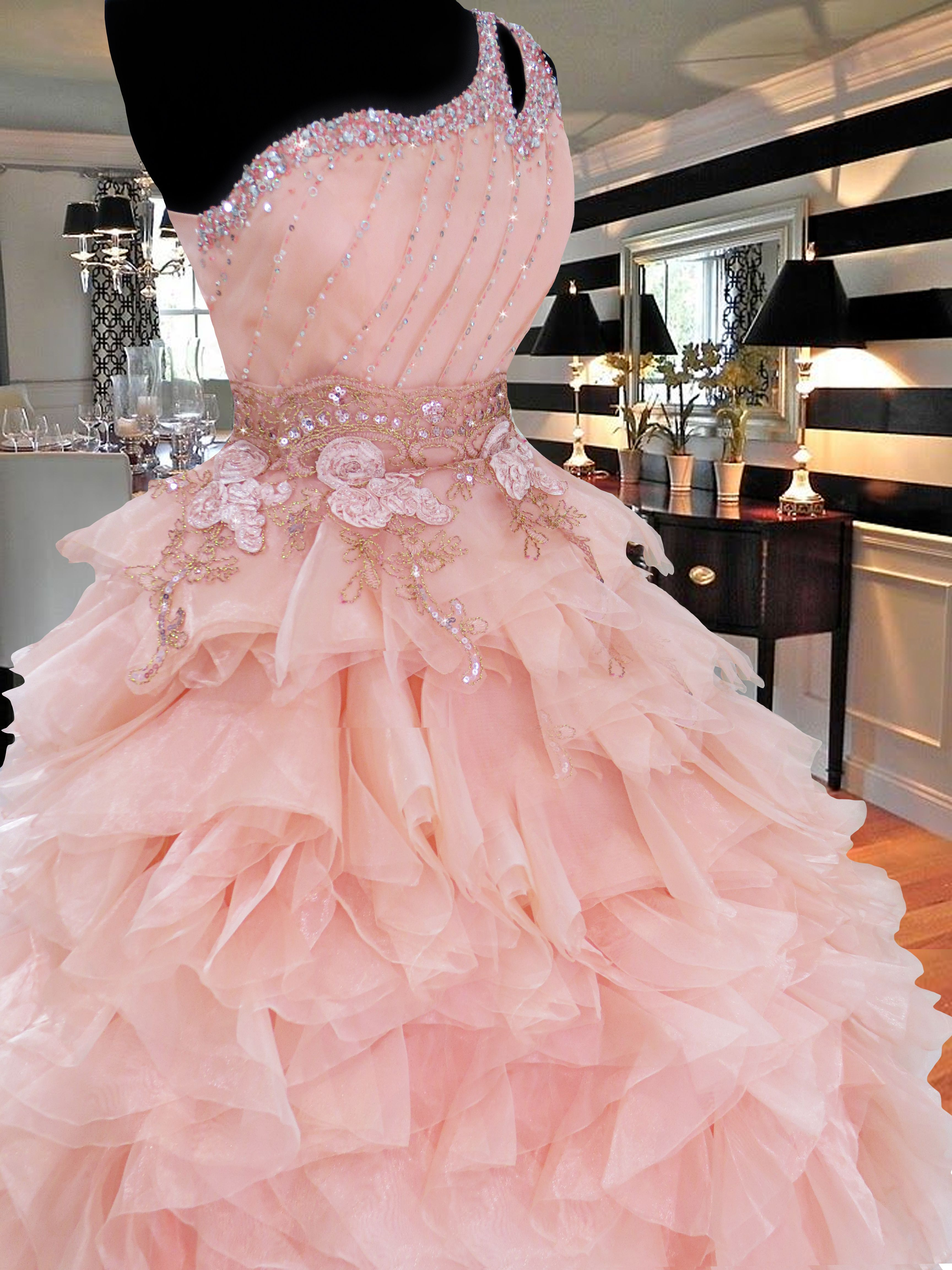 Perfect peach debut ball gown with long trail for rent Php gownforent