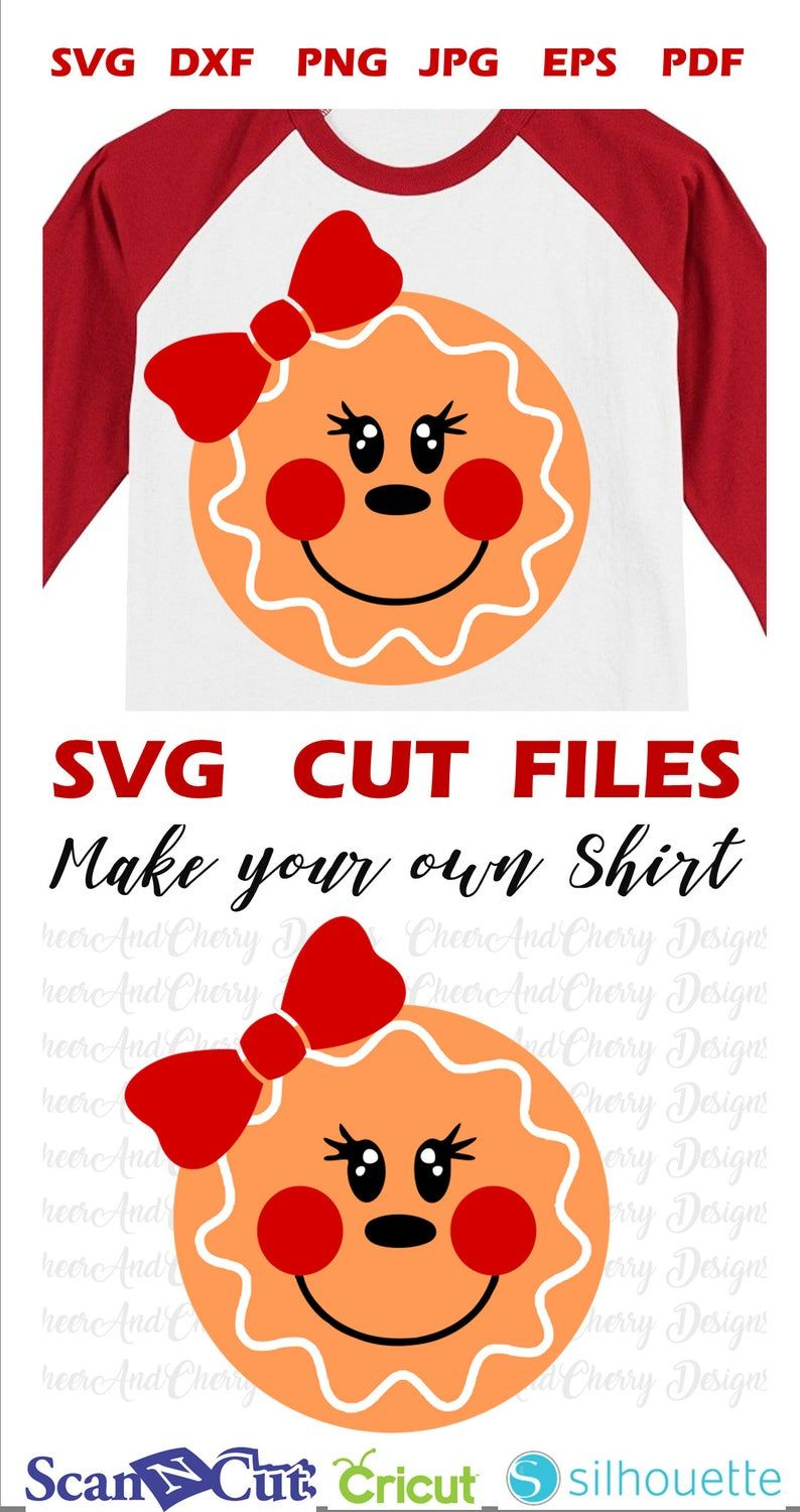 Gingerbread with bow SVG Girl gingerbread svg file for