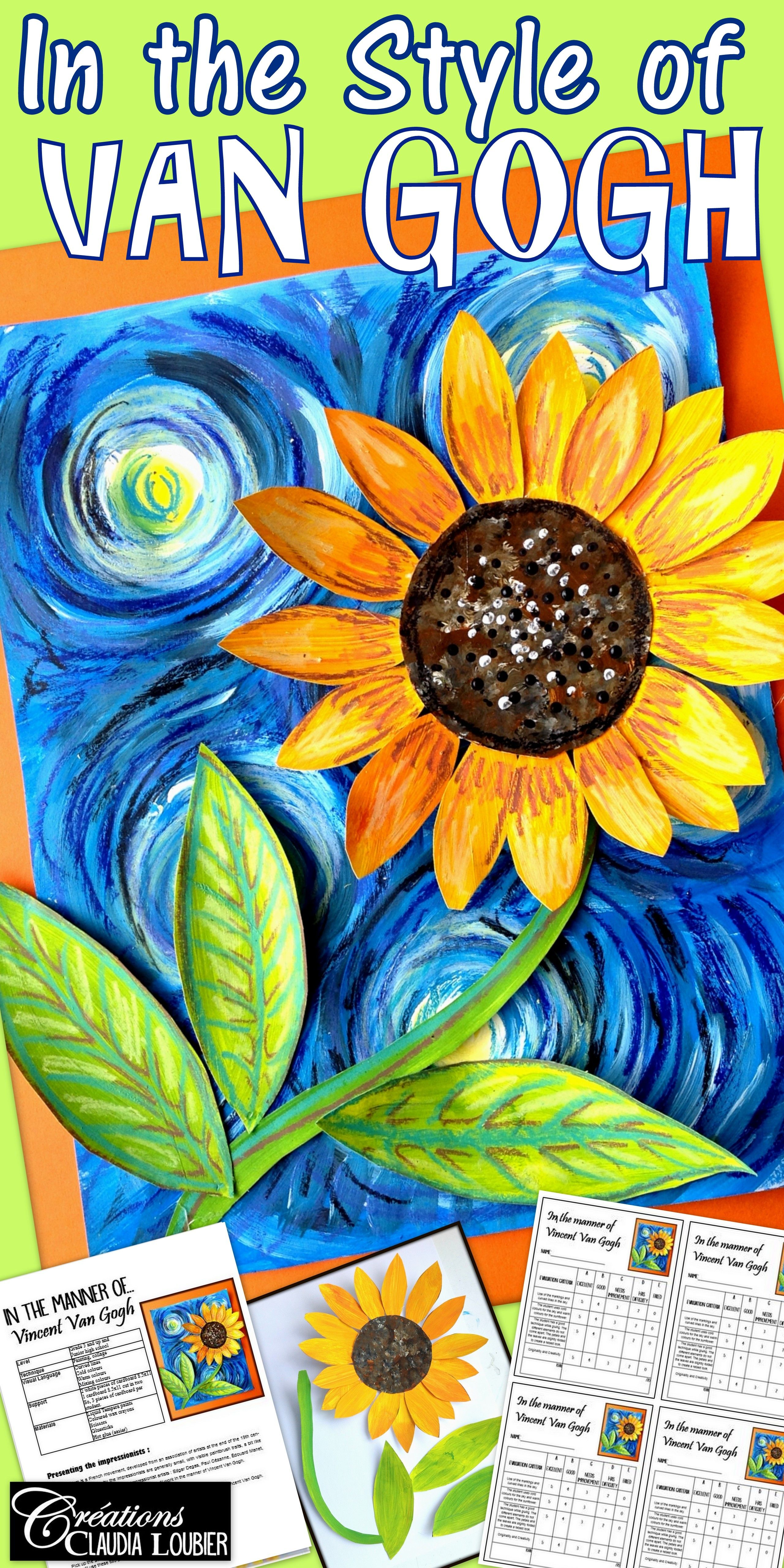 In The Style Of Vincent Van Gogh Spring Art Lesson For Kids Impressionnist
