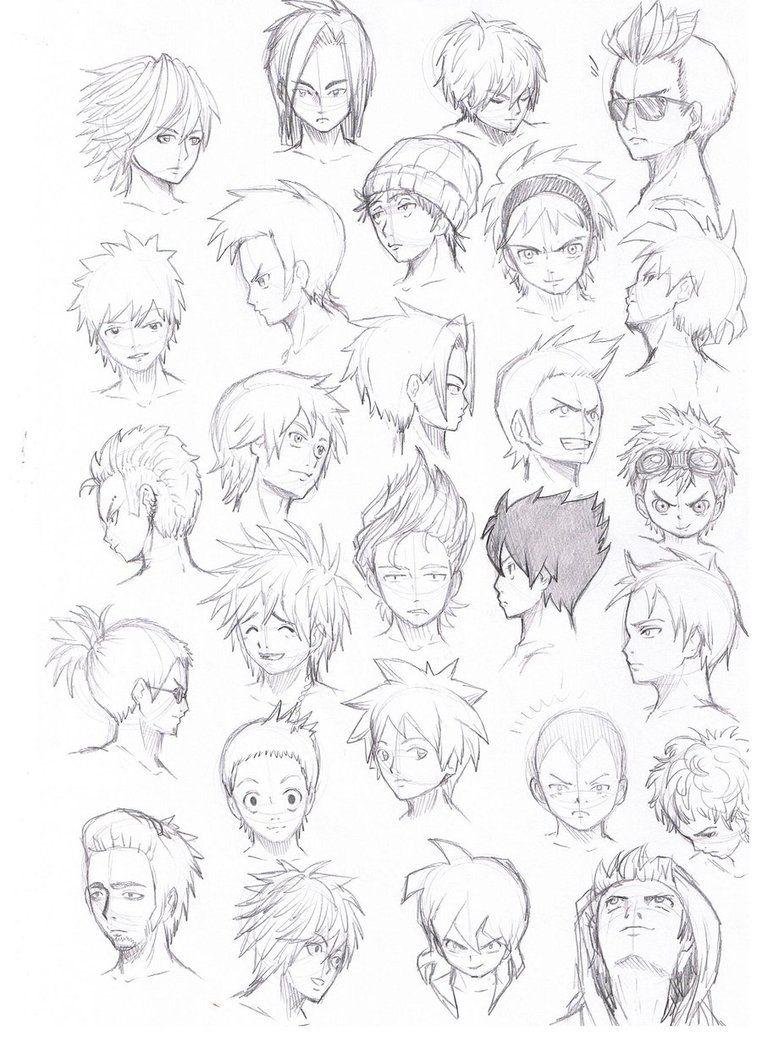 Hair Styles Anime : styles, anime, Various, Hairstyles, Anime, Hair,, Drawings, Tutorials,