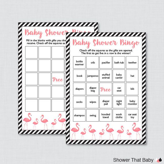flamingo baby shower bingo cards