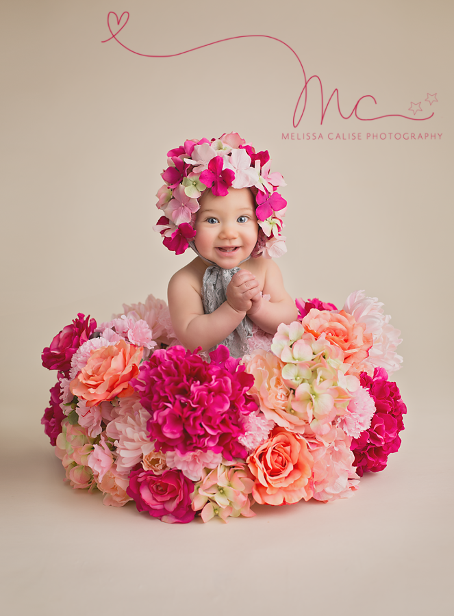 03f3ecff9 Melissa Calise Photography (Baby Girl Sitter Flowers Pink Peach ...