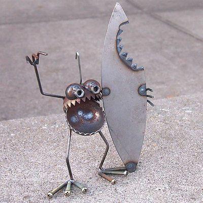 Details about Sugarpost Mini Gnome Be Gone Shark Bite Surfer Outdoor Garden Welded Metal Art