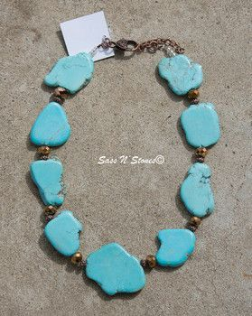 Turquoise Flat Stone Necklace with Copper Crystals