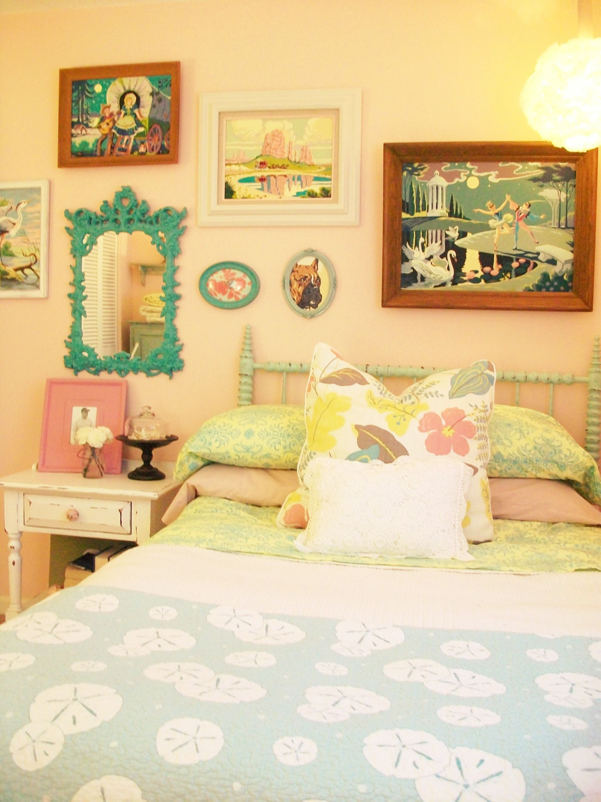 Vintage Inspired Pastel Bedroom With Paint By Number Collection Oh Can I Just Have A Secret Little Cottage Hideaway Somewhere Where Don T To Listen