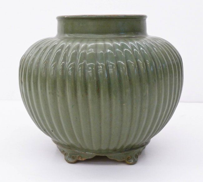 Antique Chinese Celadon Glaze Footed Pottery Jar Or Or Vase 95x11