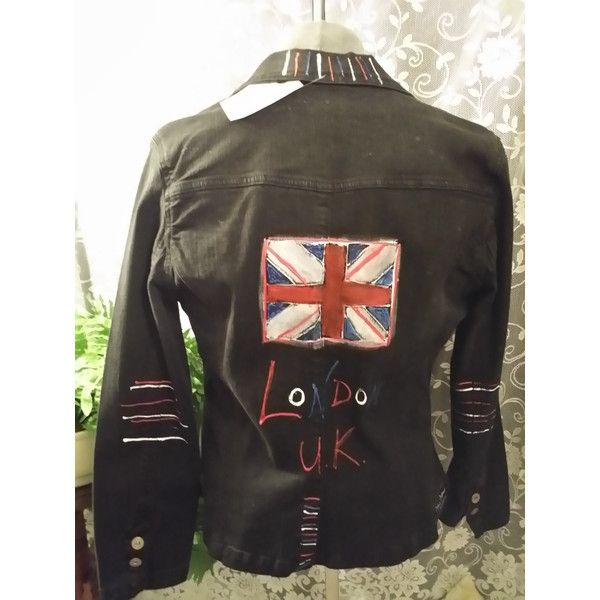 On Revamped Vintage Stretch Denim Jacket London Uk Union Jack Flag ($41) ❤ liked on Polyvore featuring outerwear, jackets, black, women's clothing, black jacket, black studded jacket, vintage jacket, stretch denim jacket and studded jacket