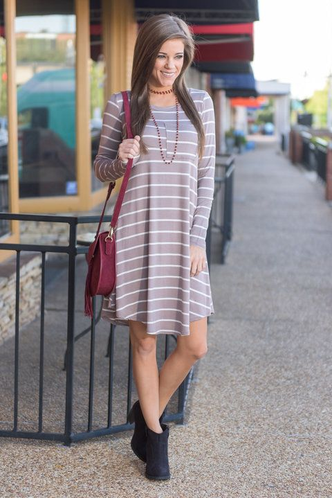"""Fab Finds Dress, Taupe"" Lucky you! You have found our fave fab little dress in a new color! It's perfect fall color and casual fit are sure to be a great addition to your already fashionable wardrobe!  #newarrivals #shopthemint"