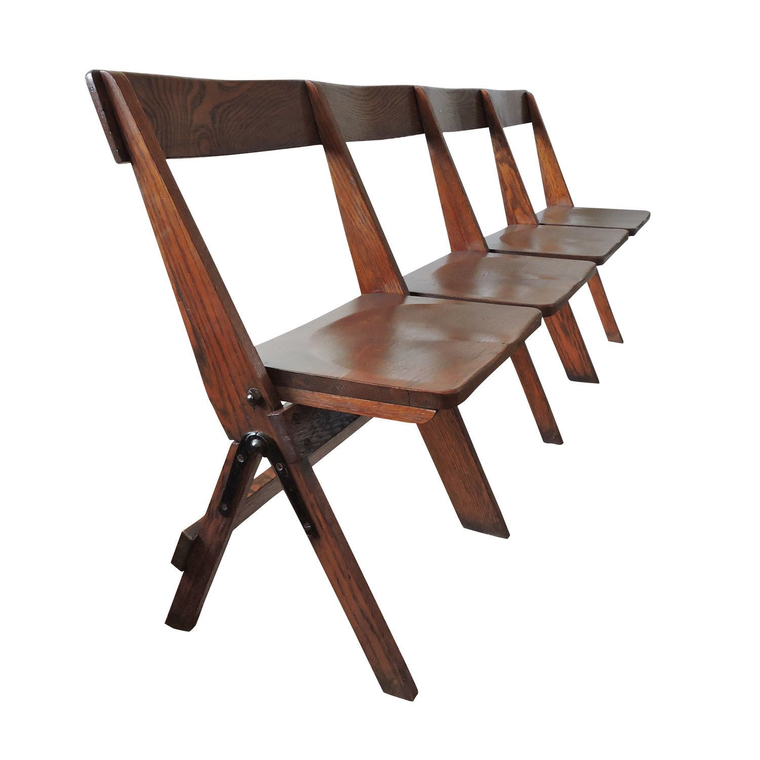 Vintage Conjoined Folding Chapel Chairs 1920s In 2019 Products