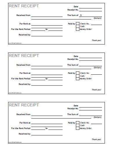 Rent Receipt - Free Printable - AllFreePrintable - free rent - free cash receipt template word