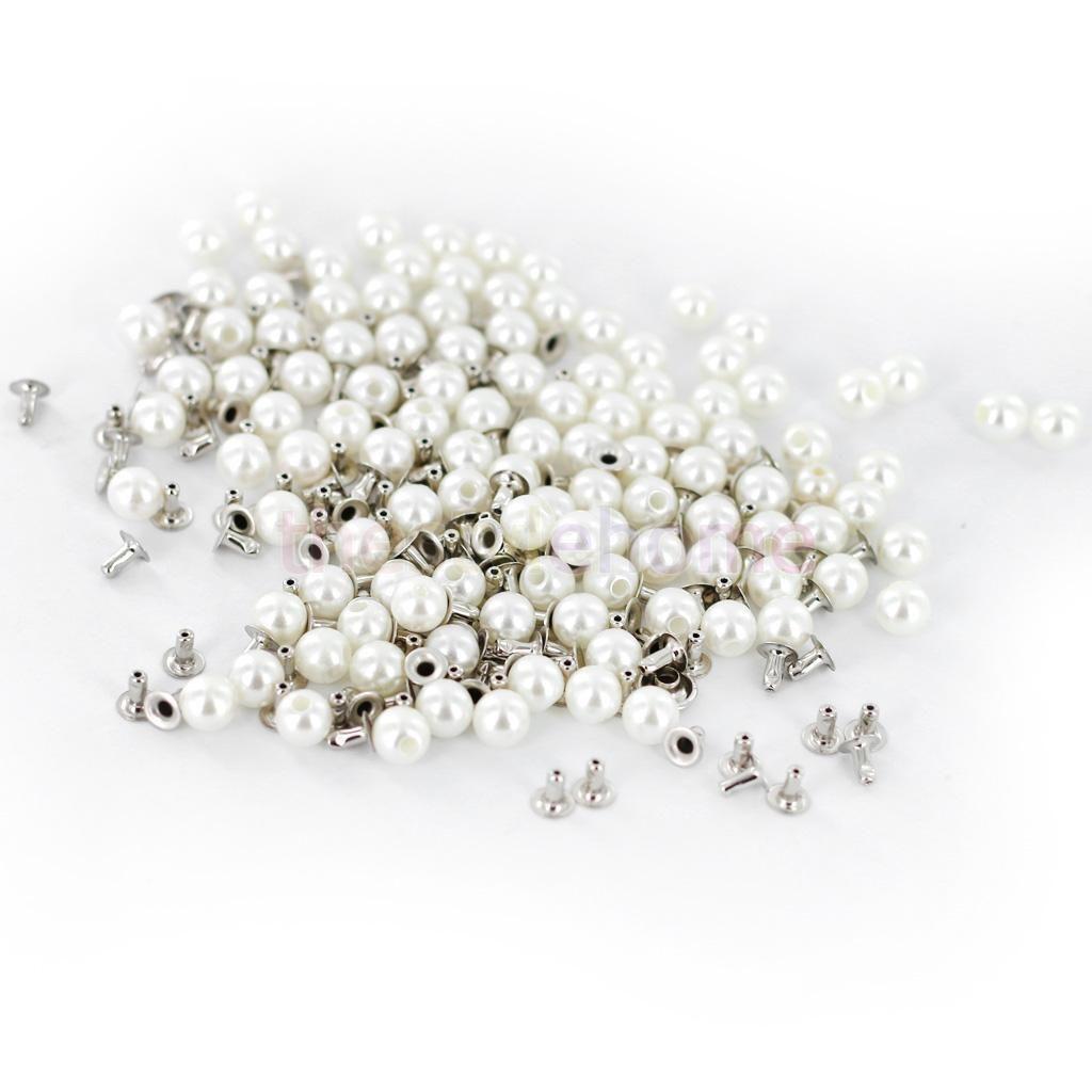 Pcs ivory pearl rivets studs mm diy for bag shoes bracelet mm