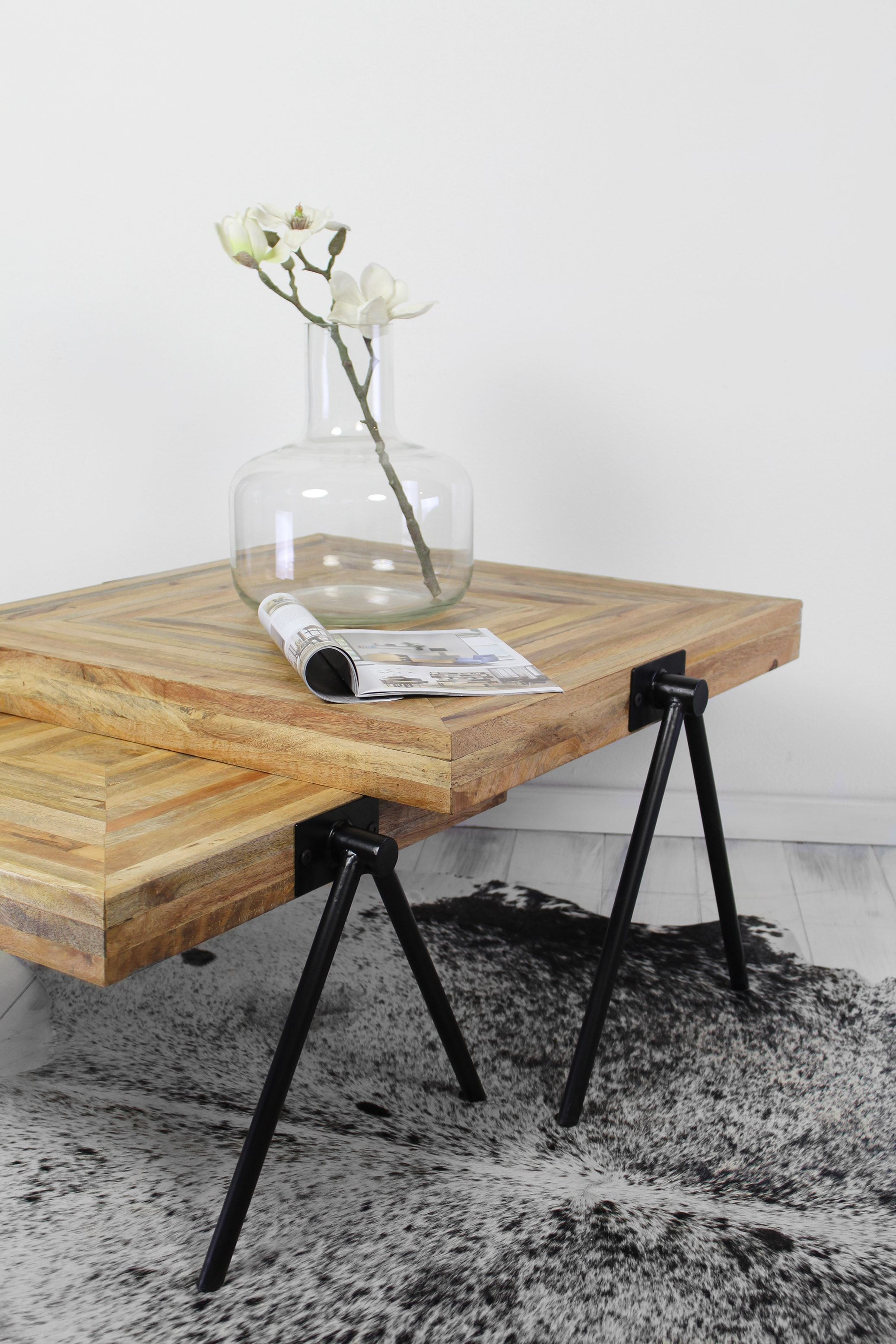 Hsm collection square large table natural topblack